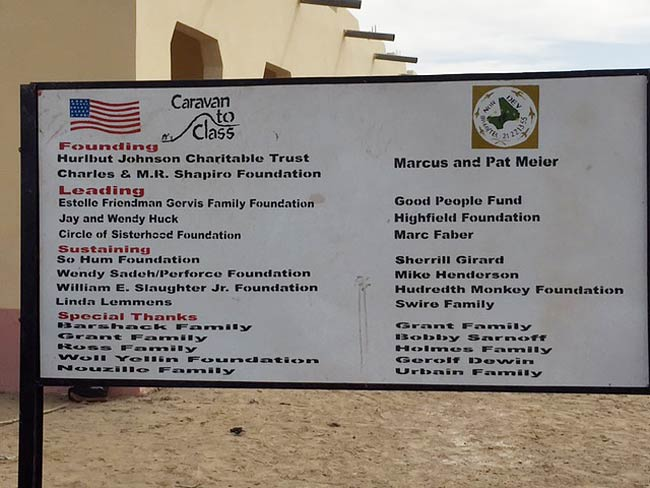 Image of major donors plaque that is found at the entrance of the school in Kakondji